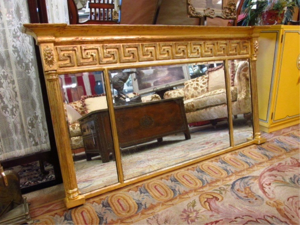 NEOCLASSICAL STYLE GILDED OVER THE MANTEL MIRROR