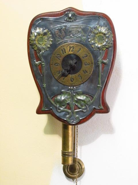 ART NOUVEAU ENAMELED SILVER PLATE WALL CLOCK
