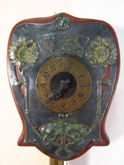 ART NOUVEAU ENAMELED SILVER PLATE WALL CLOCK - 3