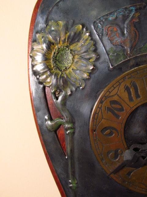 ART NOUVEAU ENAMELED SILVER PLATE WALL CLOCK - 5