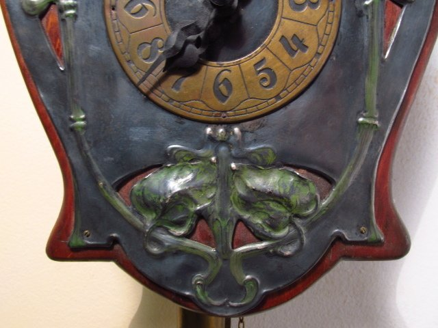 ART NOUVEAU ENAMELED SILVER PLATE WALL CLOCK - 7