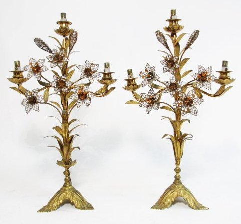 PAIR FRENCH FLORAL BEADED BRONZE CANDELABRUM