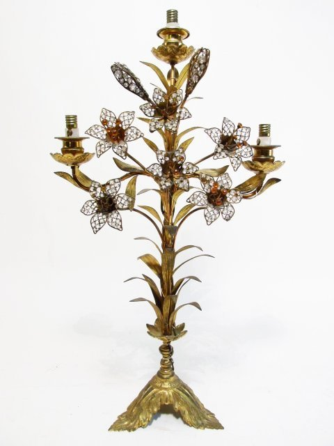 PAIR FRENCH FLORAL BEADED BRONZE CANDELABRUM - 2