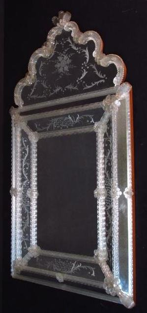 VINTAGE VENETIAN ENGRAVED GLASS MIRROR