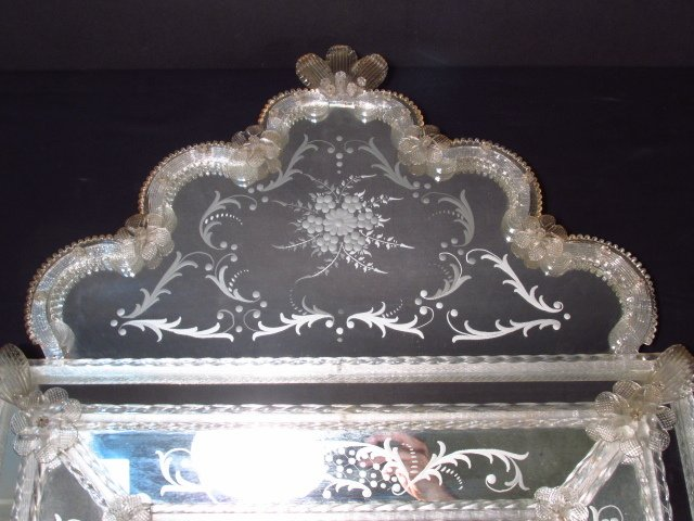 VINTAGE VENETIAN ENGRAVED GLASS MIRROR - 2
