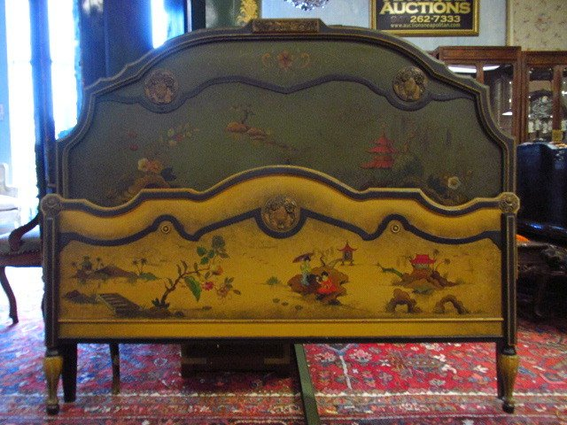 CHINOISERIE STYLE HAND PAINTED FULL SIZE BED FRAME