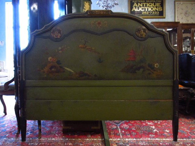 CHINOISERIE STYLE HAND PAINTED FULL SIZE BED FRAME - 2