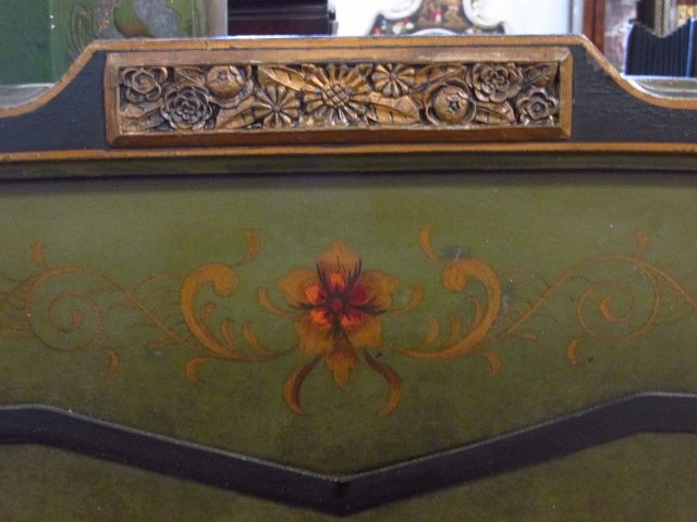 CHINOISERIE STYLE HAND PAINTED FULL SIZE BED FRAME - 3
