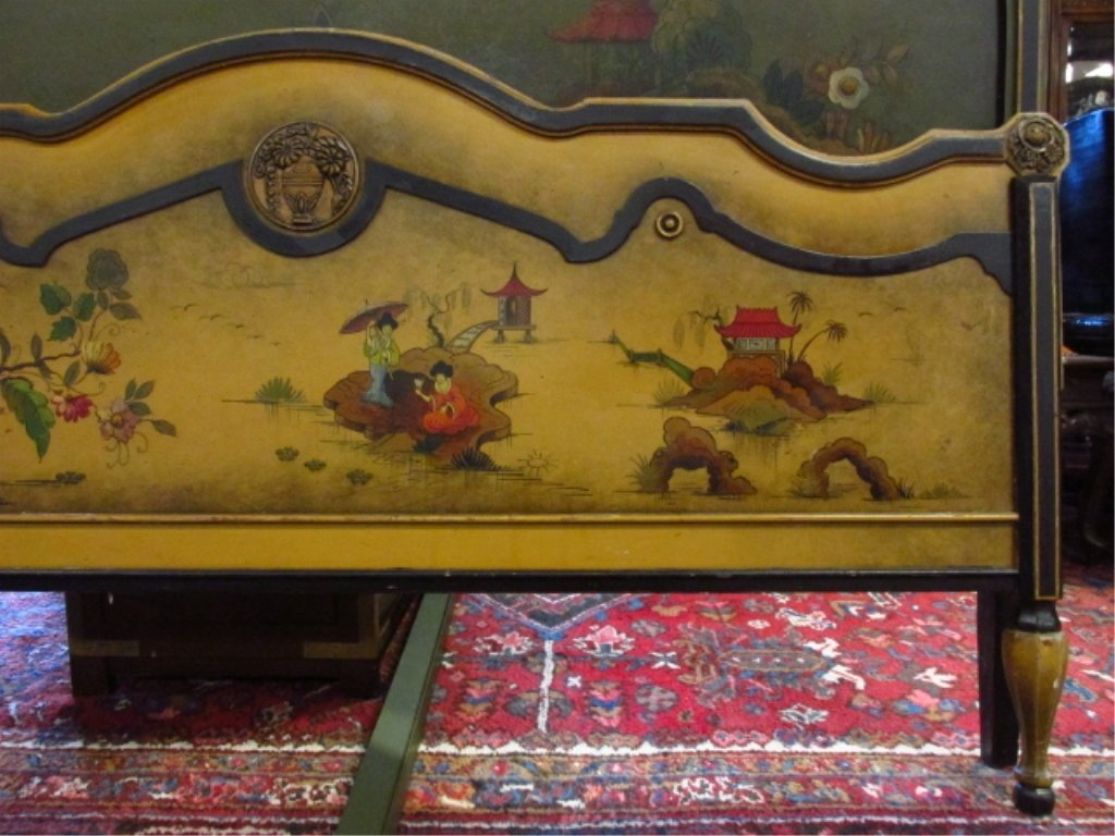 CHINOISERIE STYLE HAND PAINTED FULL SIZE BED FRAME - 5