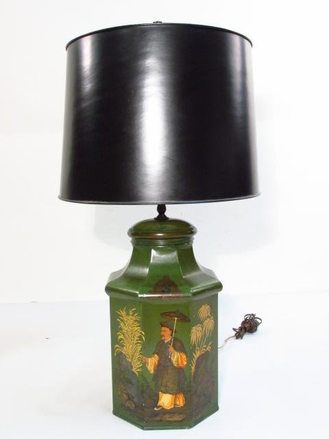 ANTIQUE HAND PAINTED CHINESE TEA TIN TABLE LAMP