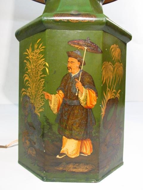 ANTIQUE HAND PAINTED CHINESE TEA TIN TABLE LAMP - 4