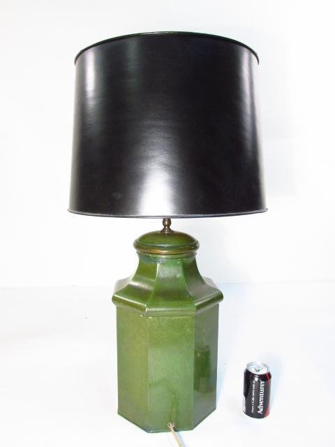 ANTIQUE HAND PAINTED CHINESE TEA TIN TABLE LAMP - 7