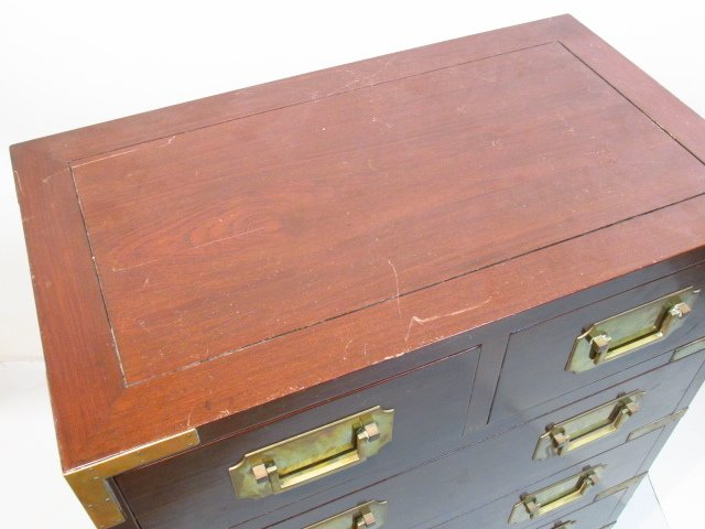 HEAVY GEORGE ZEE & CO METAL MOUNTED MAHOGANY CHEST - 2