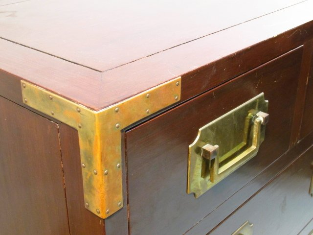 HEAVY GEORGE ZEE & CO METAL MOUNTED MAHOGANY CHEST - 3