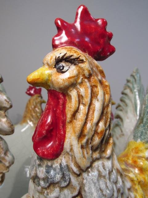 LARGE ITALIAN GLAZED REDWARE ROOSTER CENTERPIECE - 4