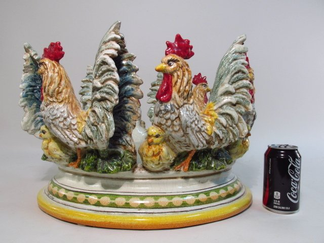LARGE ITALIAN GLAZED REDWARE ROOSTER CENTERPIECE - 6