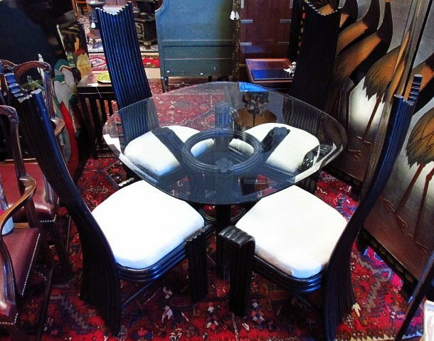 CONTEMPORARY BLACK CANE GLASS TOP DINETTE SET
