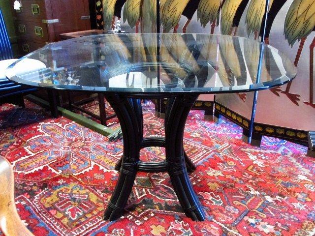 CONTEMPORARY BLACK CANE GLASS TOP DINETTE SET - 2