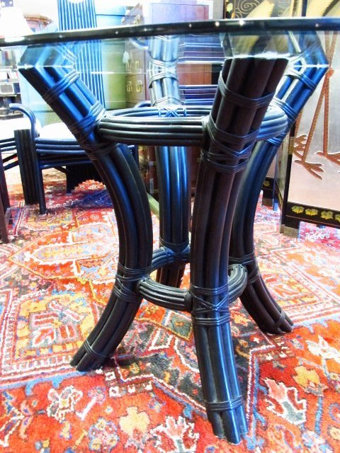 CONTEMPORARY BLACK CANE GLASS TOP DINETTE SET - 3