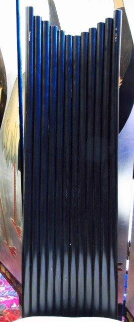 CONTEMPORARY BLACK CANE GLASS TOP DINETTE SET - 8