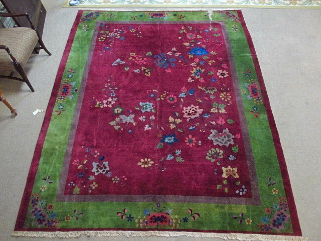 LARGE CHINESE ART DECO HAND KNOTTED WOOL RUG 8'7""
