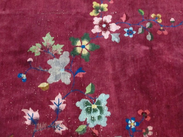"LARGE CHINESE ART DECO HAND KNOTTED WOOL RUG 8'7"" - 3"