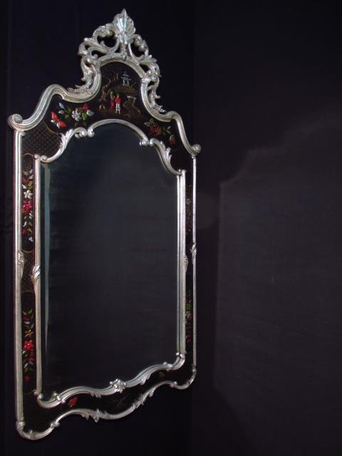 LARGE CHINOISERIE STYLE WALL MIRROR