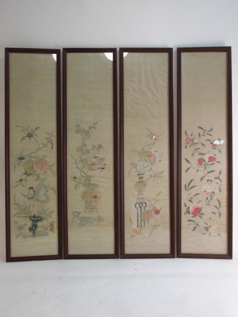 FOUR JAPANESE FRAMED SILK TAPESTRIES