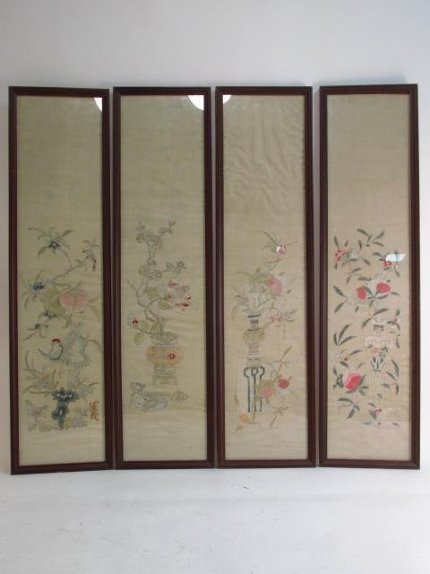 FOUR JAPANESE FRAMED SILK TAPESTRIES