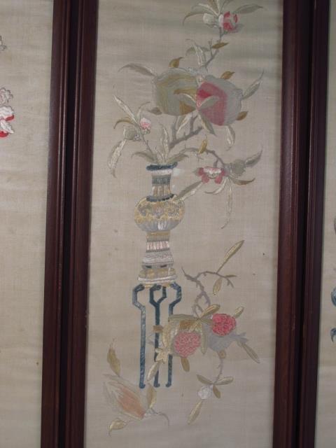FOUR JAPANESE FRAMED SILK TAPESTRIES - 4