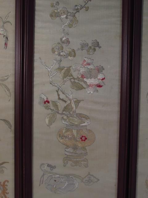 FOUR JAPANESE FRAMED SILK TAPESTRIES - 5