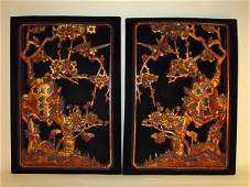 PAIR ANTIQUE CHINESE CARVED WOOD RELIEF PANELS