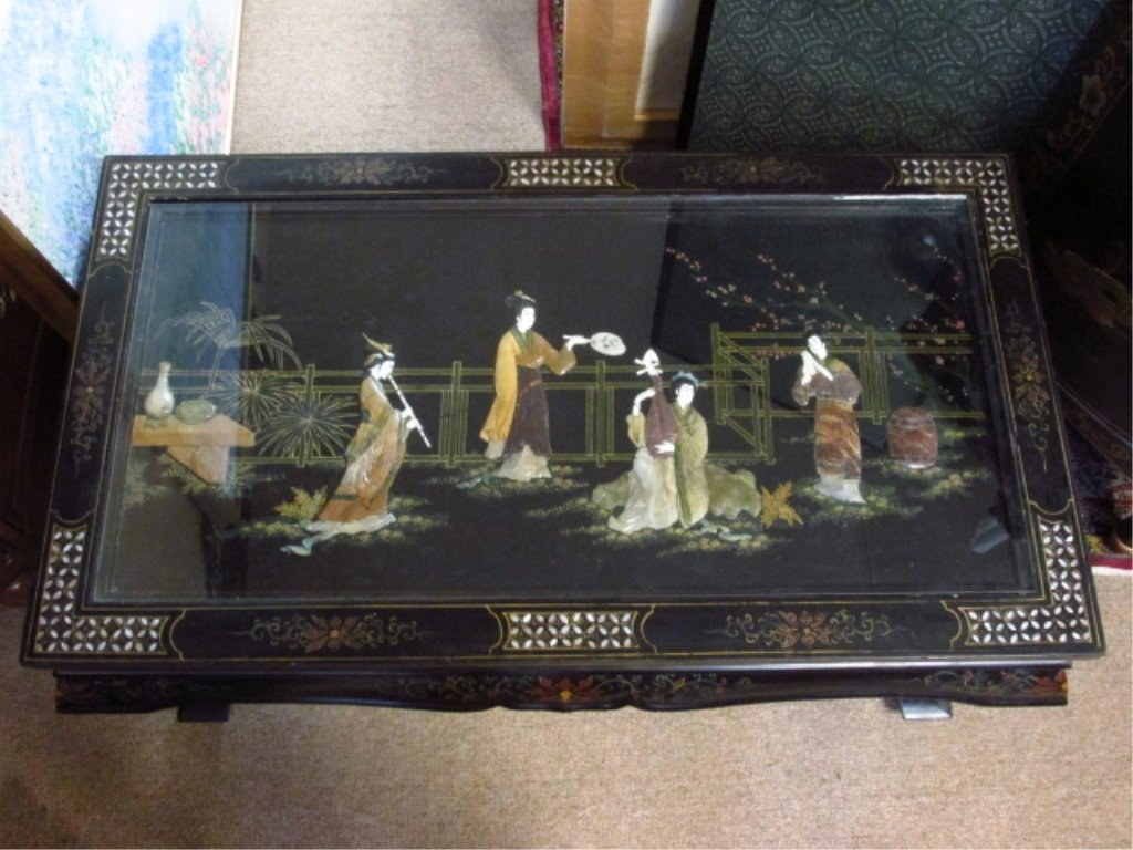 CHINESE BLACK LACQUER FINISHED COFFEE TABLE - 2
