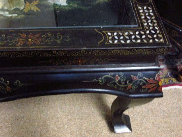CHINESE BLACK LACQUER FINISHED COFFEE TABLE - 5