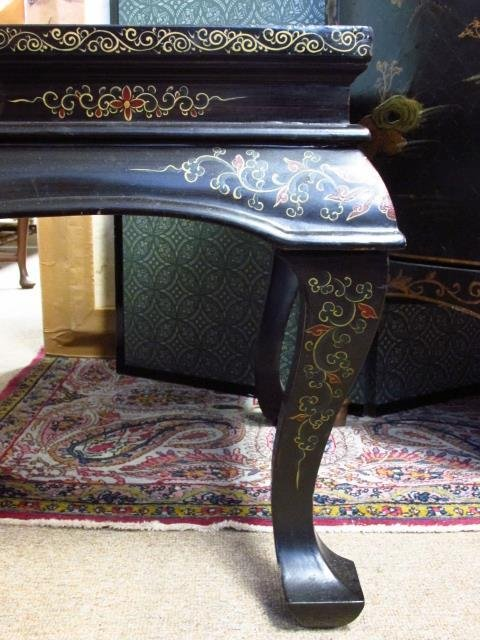 CHINESE BLACK LACQUER FINISHED COFFEE TABLE - 6