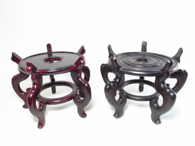 TWO LARGE CHINESE CARVED WOOD STANDS OR BASES