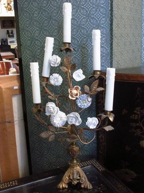 ELECTRIFIED FRENCH STYLE ENAMELED FLORAL CANDELABR