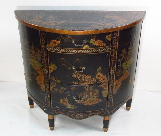 CHINOISERIE STYLE DEMILUNE CHEST OF DRAWERS