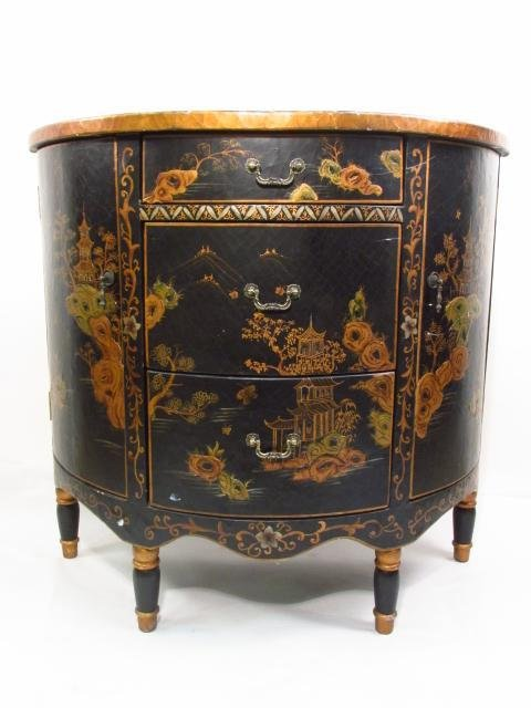 CHINOISERIE STYLE DEMILUNE CHEST OF DRAWERS - 3