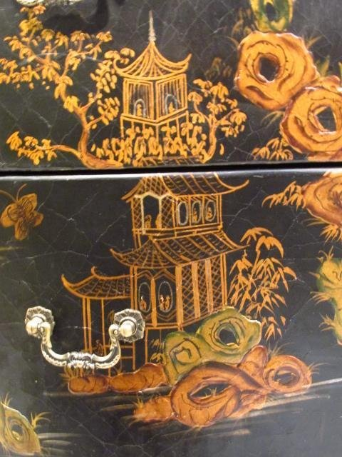 CHINOISERIE STYLE DEMILUNE CHEST OF DRAWERS - 6