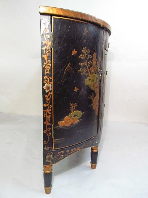 CHINOISERIE STYLE DEMILUNE CHEST OF DRAWERS - 7
