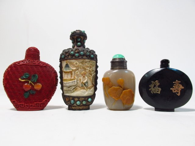 FOUR VINTAGE CHINESE SNUFF BOTTLES