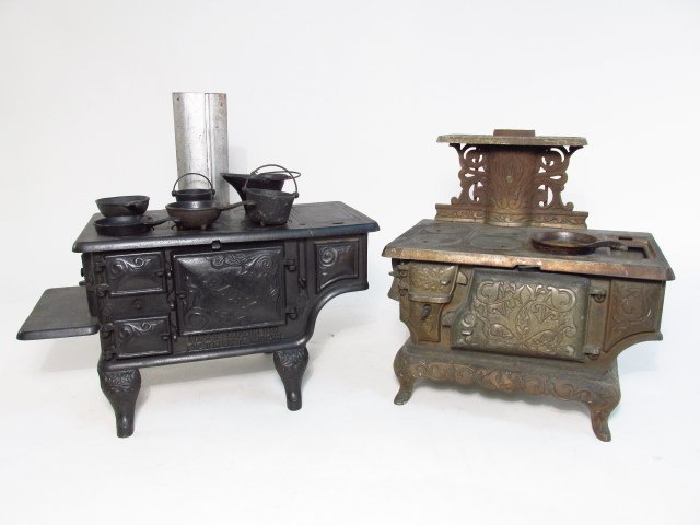 TWO ANTIQUE CAST IRON SALESMAN'S SAMPLE STOVES