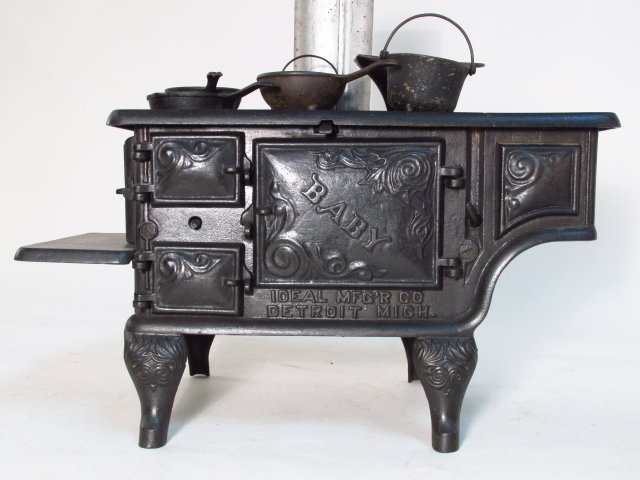 TWO ANTIQUE CAST IRON SALESMAN'S SAMPLE STOVES - 5