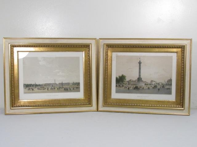 TWO FRENCH HAND COLORED LITHOGRAPHS BY FELIX BENOI
