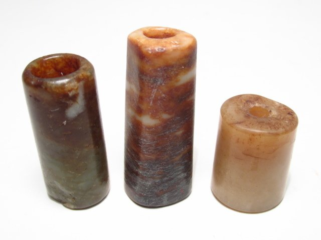CHINESE CARVED JADE BI DISC & STONE CYLINDER BEADS - 2