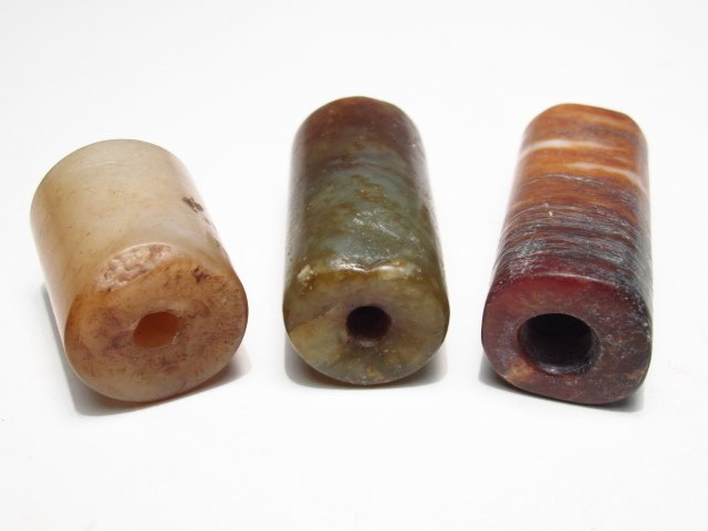 CHINESE CARVED JADE BI DISC & STONE CYLINDER BEADS - 3