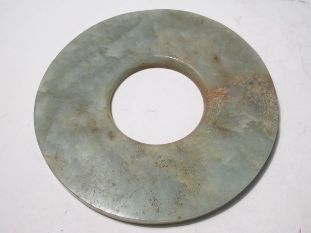 CHINESE CARVED JADE BI DISC & STONE CYLINDER BEADS - 4