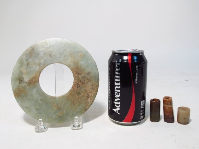 CHINESE CARVED JADE BI DISC & STONE CYLINDER BEADS - 8