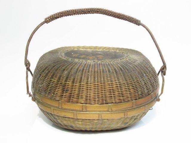 JAPANESE MEIJI PERIOD BRONZE WIRE BASKET
